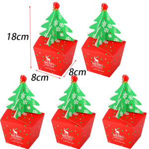 10pcs merry Christmas tree paper candy box Christmas decorations for home gift box natal new year gift packing Noel