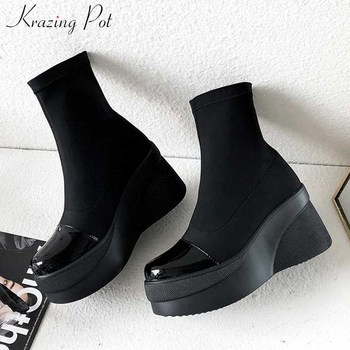 krazing pot black colors bright leather patchwork stretch flock boots round toe thick bottom winter warm women ankle boots L20