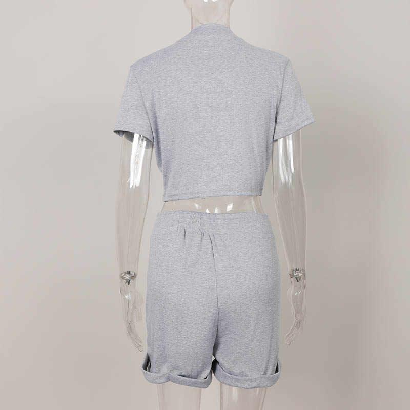 Sexy Skinny 2 Stuk Vrouwen Trainingspak Set Korte Mouw Cropped Top Elastische Shorts Vrouwelijke Bijpassende Sets Solid Fashion Lady Pak