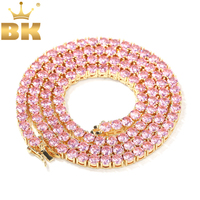 THE BLING KING 4mm Pink Iced Cubic Zirconia Tennis Chains Gold Silver Color Necklace Colored Fashion Hiphop Jewelry