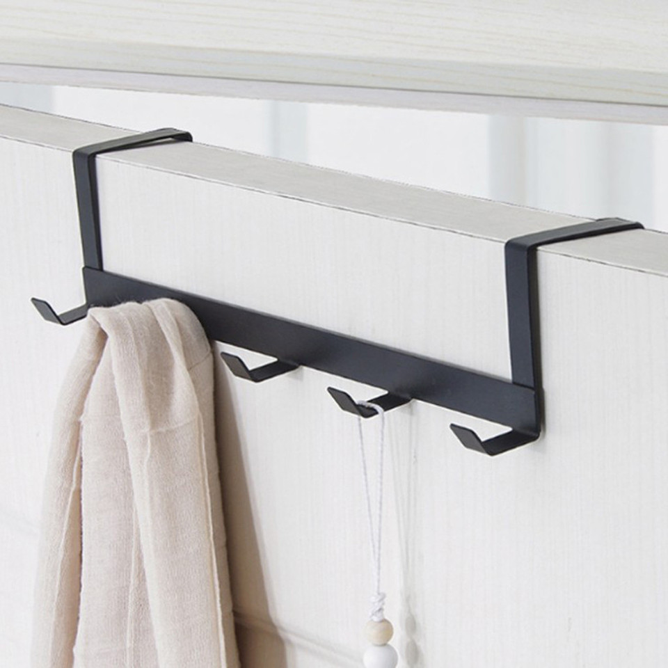 OHOME Over The Door 5 Hooks Home Bathroom Organizer Rack Clothes Coat Hat Towel Hanger Housekeeping Organizers Hooks Up,White,China