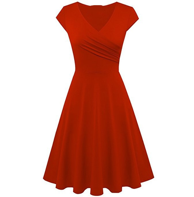 Madam Clothing OWLPRINCESS 2018 Women's Autumn Short Sleeve Solid Color Slim Fit Big Hemline Dress