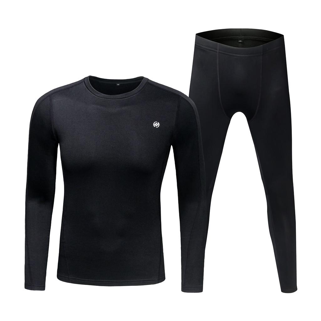Thermal Underwear Fleece Base Layer Top & Bottom Set for Winter Sports