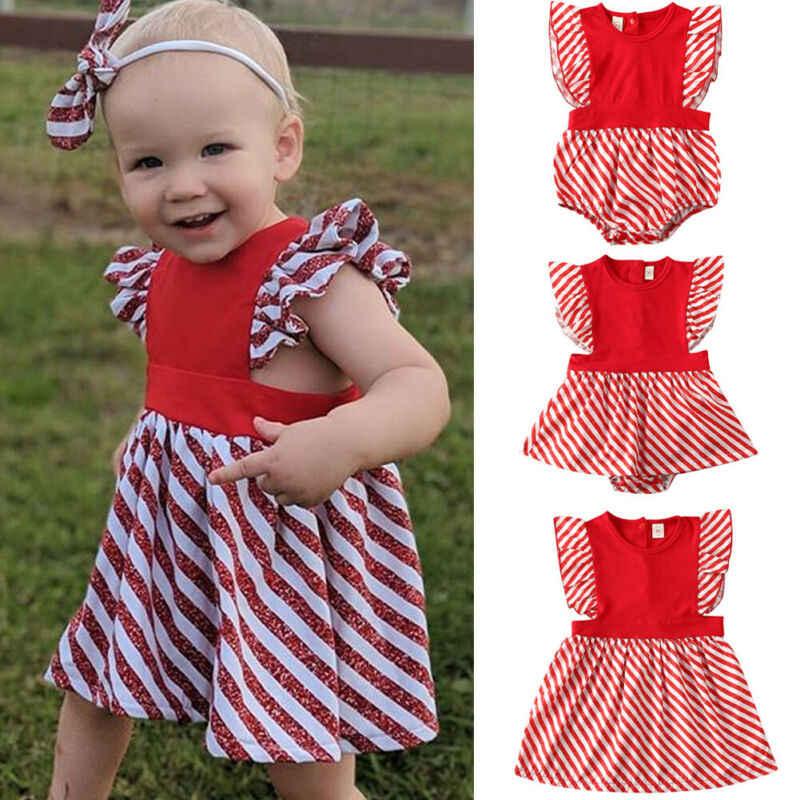 Ropa de bebé Infante a juego para niñas, vestido de mameluco de Navidad, vestido básico de algodón a rayas