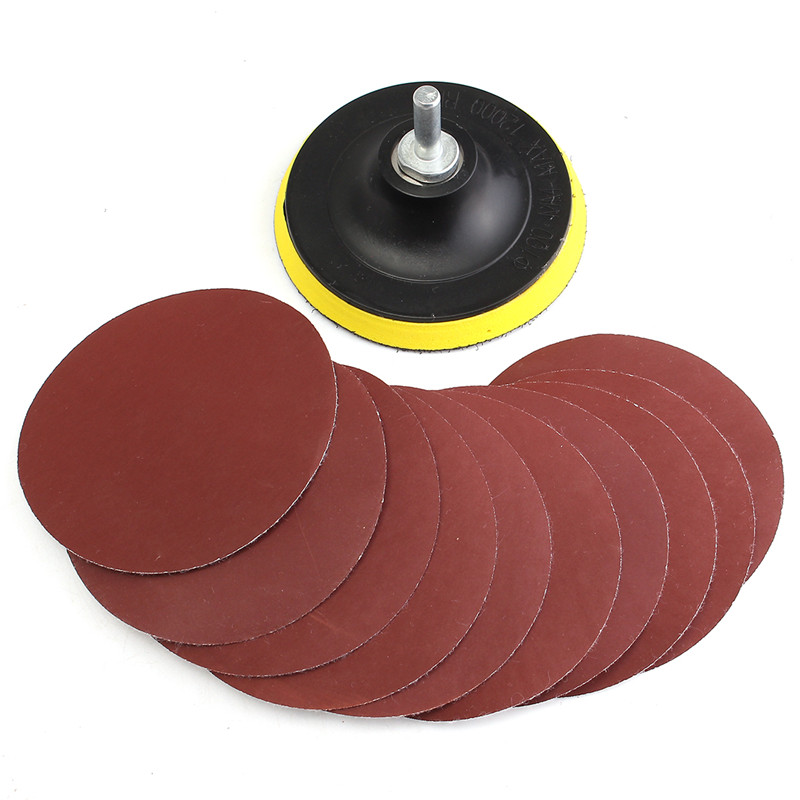 10Pcs/set 100mm Sanding Disc Sandpaper 1000 Grit For Cleaning And  Polishing Durable Tool With Backer Pad Drill Adapter
