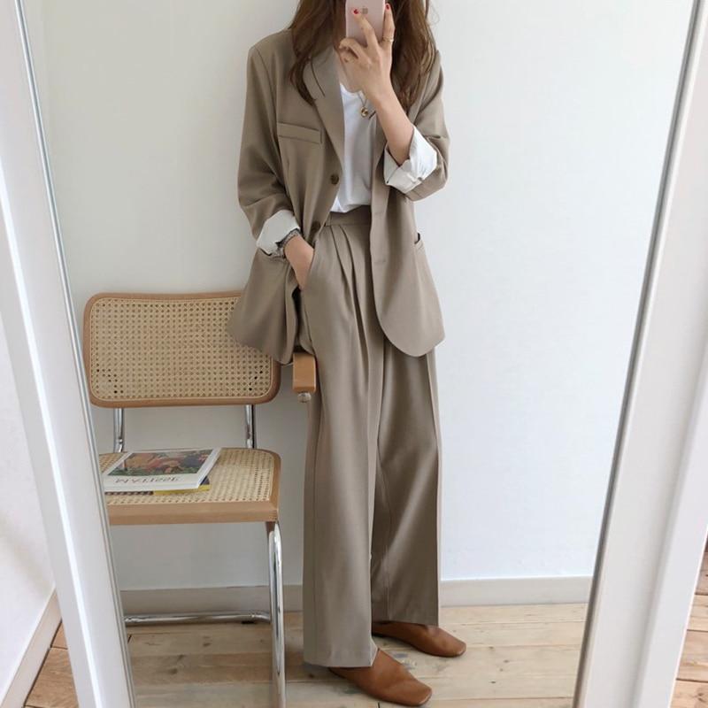 Two Piece Pants Set Women Korea Chic Leisure Retro Lapel Long Sleeve Suit Jacket+High Waist Pendant Wide Leg Trousers Pants