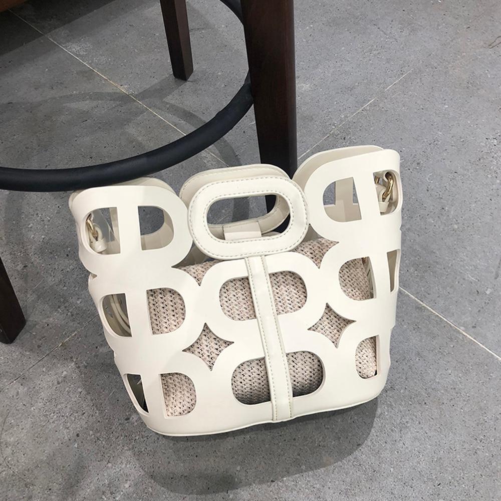 Casual Tote Bag Women Handbag Luxury Hollow Out Shoulder Bags Designer Travel Bag Fashion Beach Bag PU Leather Solid Hollow Bag