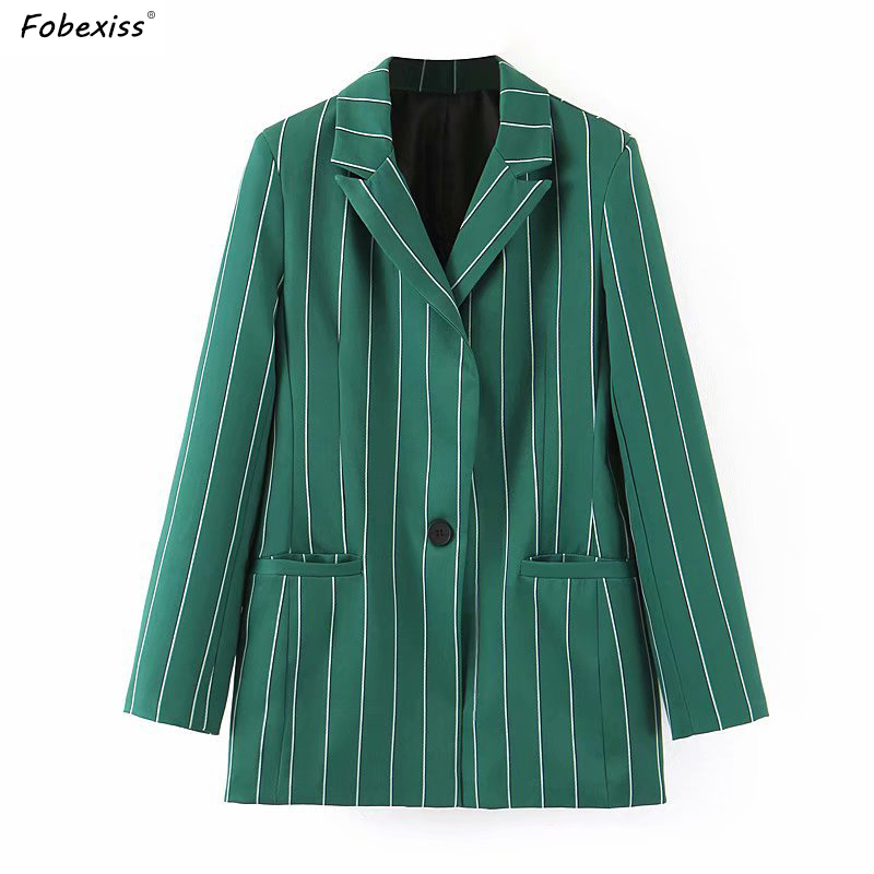 Vintage Green Striped Blazers Feminino Fall 2019 Long Sleeve Single Button Elegant Blazer Jackets Plus Size Loose Elegant Blazer