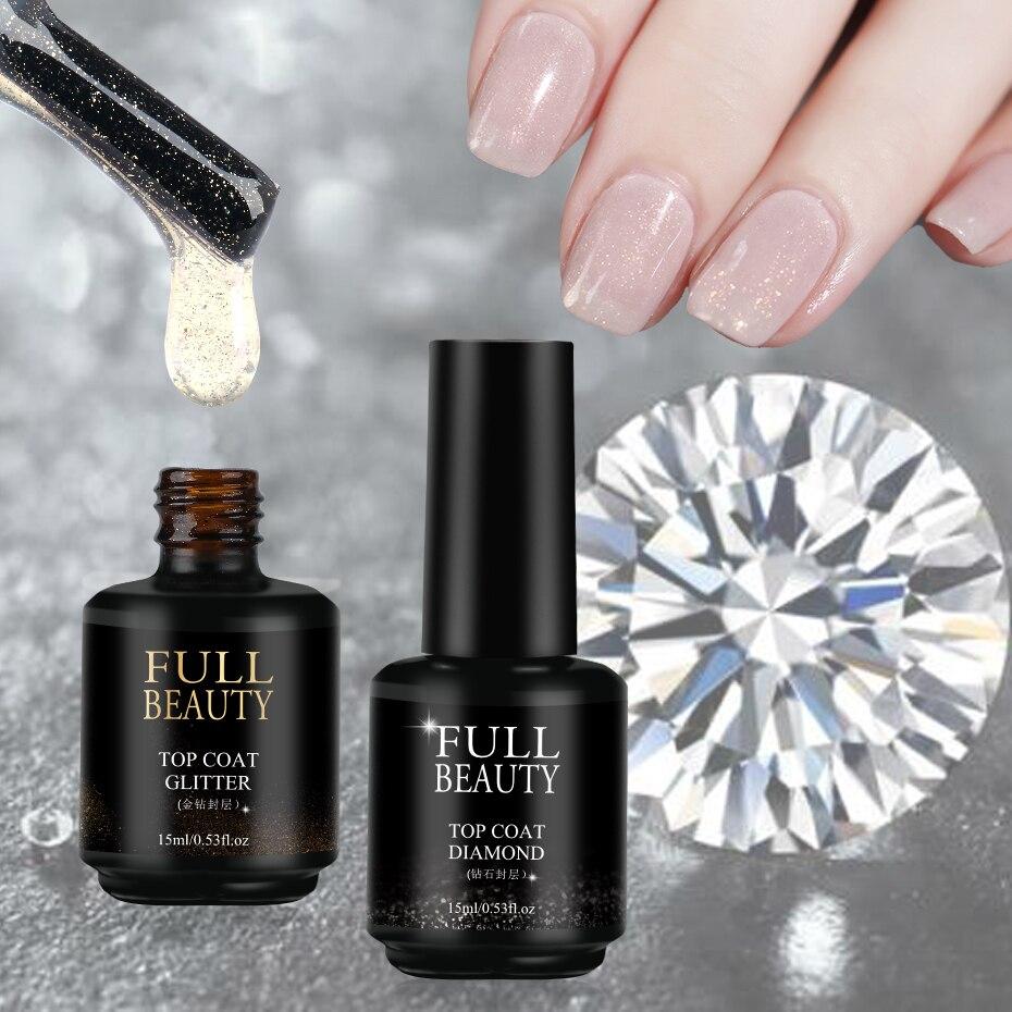 15ml Nail Top Coat Gel Polish No Wipe Diamond Top Coat Gold Glitter Clear Tempered Seal Soak Off Long Lasting Lacquer SA1594