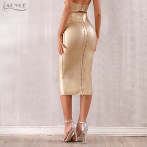 Image 5 - Adyce faldas de estilo vendaje para mujer, faldas ajustadas de media pantorrilla doradas, sexys, para fiesta de celebraciones y clubes, 2020