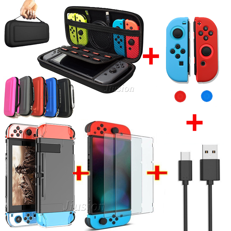 6 In 1 Kit EVA Bag For Nintend Switch Hard Shell Carrying Cover Portable For Nitendo Switch Console Joysticks Grips Accessories