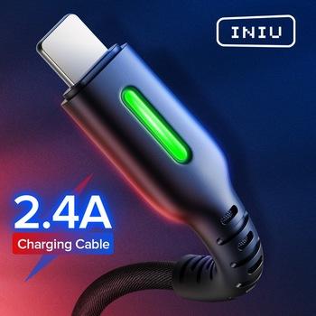INIU LED kabel USB do iPhone 11 Pro XS MAX XR X 8 7 Plus 6S 5 3A szybka ładowarka przewód do telefonu komórkowego kabel do ładowania danych tanie i dobre opinie LIGHTNING TYPE-C Micro Usb 2 4A USB A Ze wskaźnikiem LED 0 5m(1 6ft) 1m(3 3ft) 2m(6 6ft) 3m(9 8ft) For iOS 13 12 11 10 9 8 USB Cord