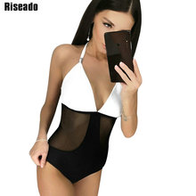 Riseado One Piece Swimsuit New Sexy Swimwear Women Mesh Maillot De Bain Femme Halter Bathing Suits Beachwear Female