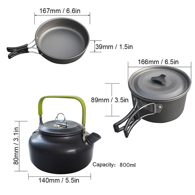 Non-Stick Camping Tableware Fold-able Spoon Fork Knife and Kettle Cup Cooking Set