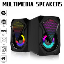 Portable Mini RGB LED Mini USB Wired Computer Speakers Surround Sound Bass Stereo Subwoofer For PC Laptop Desktop Audio MP4