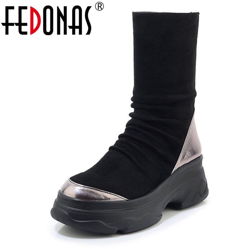 FEDONAS femmes plates-formes chaussures femmes mi-mollet bottes hiver chaussures de ville femme bout rond Zipper Hiigh talons chaussettes bottes