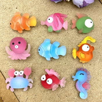 Hand Painted 9pcs resin Mini marine series Flatback Cabochon Stone Scrapbook DIY Decor Home Figurine Crafts 1