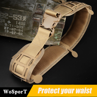 Men Army Military Camouflage Molle Girdle Tactical Outer Waist Belt Padded CS Belt Multi Use Equipment Wide Belts Soft Padded