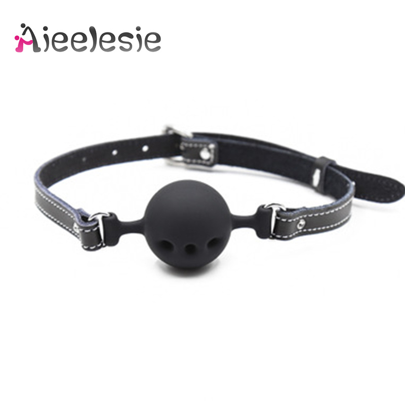 Sexy Genuine Leather Silicone Open Mouth Gag Slobber Ball BDSM Bondage Slave Restraints Adult Sex Toys For Women Accessories