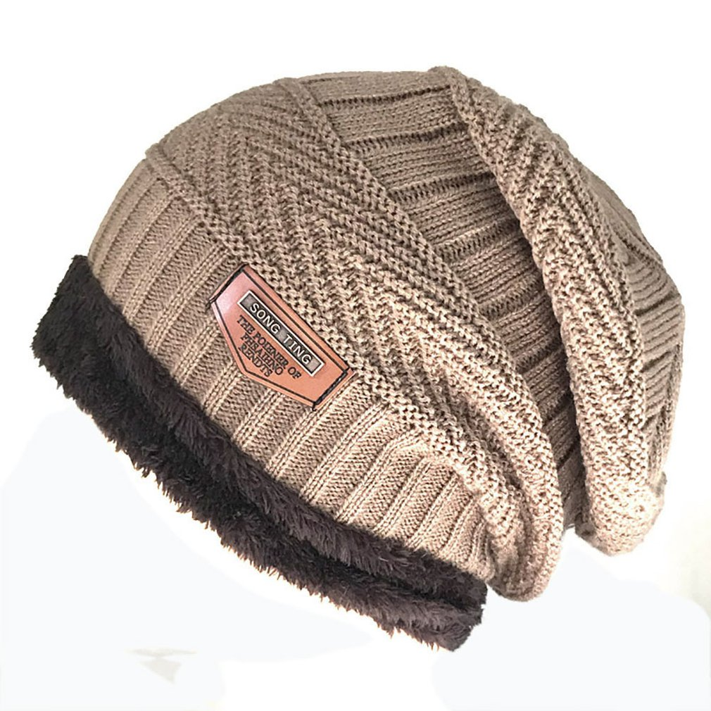 Men's Hat Knit Wool Hat Winter Plus Velvet Warm Cover Men's Outdoor Cap Warm Fashion Men's Winter Plush Hat Knitted Beanies