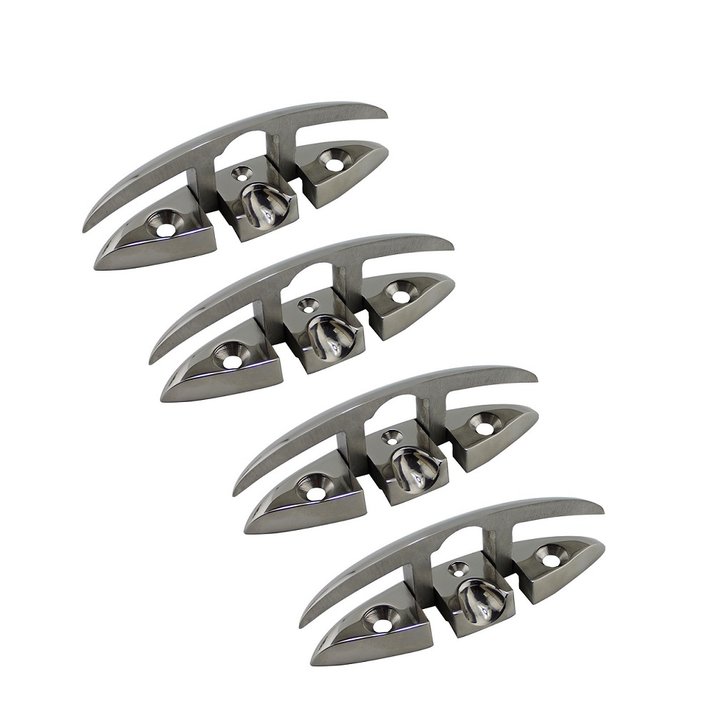 4PCS Stainless Steel Cleat Marine Hardware Foldable Boat Cleats Folding Deck Mooring Cleat Boat Accessories Parts
