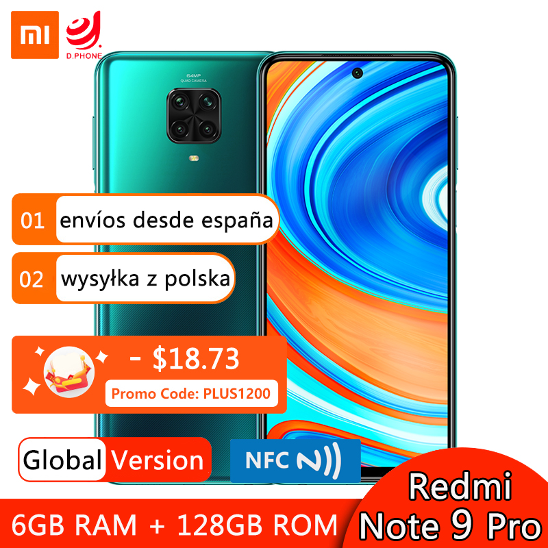 Global Version Xiaomi Redmi Note 9 Pro 6GB 128GB Smartphone Snapdragon 720G Octa Core 64MP Quad Cameras 5020mAh NFC Mobile Phone(Hong Kong,China)