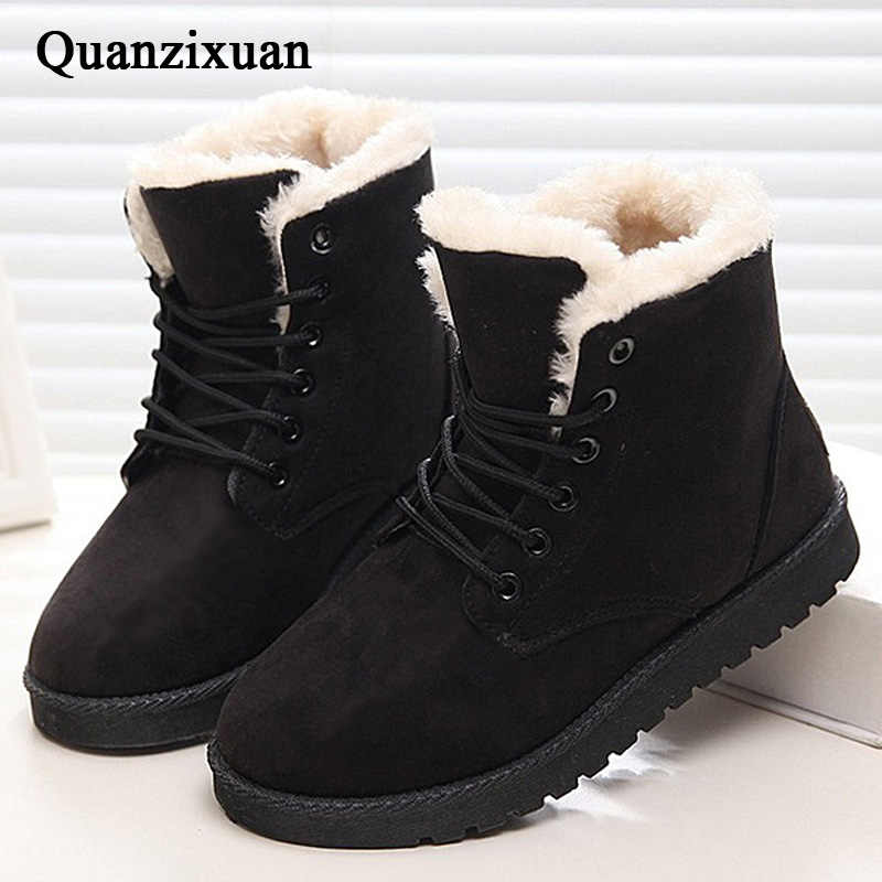 Women Winter Boots Hot Ankle Boots For Women Boots Plush Warm Snow Boots Female Winter Shoes Plus Size 43 Women Shoes Booties