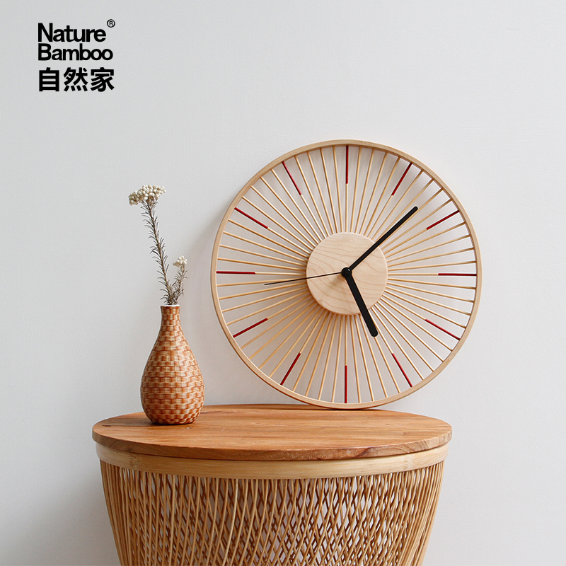 Japanese Creative Wood Wall Clock Vintage Unique Living Room Nordic Mute Wooden Wall Clock Designs Shabby Chic Home Decor C6T
