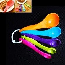 5 шт./компл. мерные ложки красочные нетоксичные пластиковые чайные ложки сахарный торт ложка для выпечки измерительный молочный порошок кухонные принадлежности инструмент