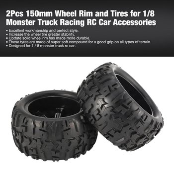 2Pcs 150mm Wheel Rim and Tires for 1/8 Monster Truck Traxxas HSP HPI E-MAXX Savage Flux Racing RC Car Accessories 2020 4pcs 2pcs 150mm wheel rim and tires for 1 8 monster truck traxxas hsp hpi e maxx savage flux racing rc car accessories hot