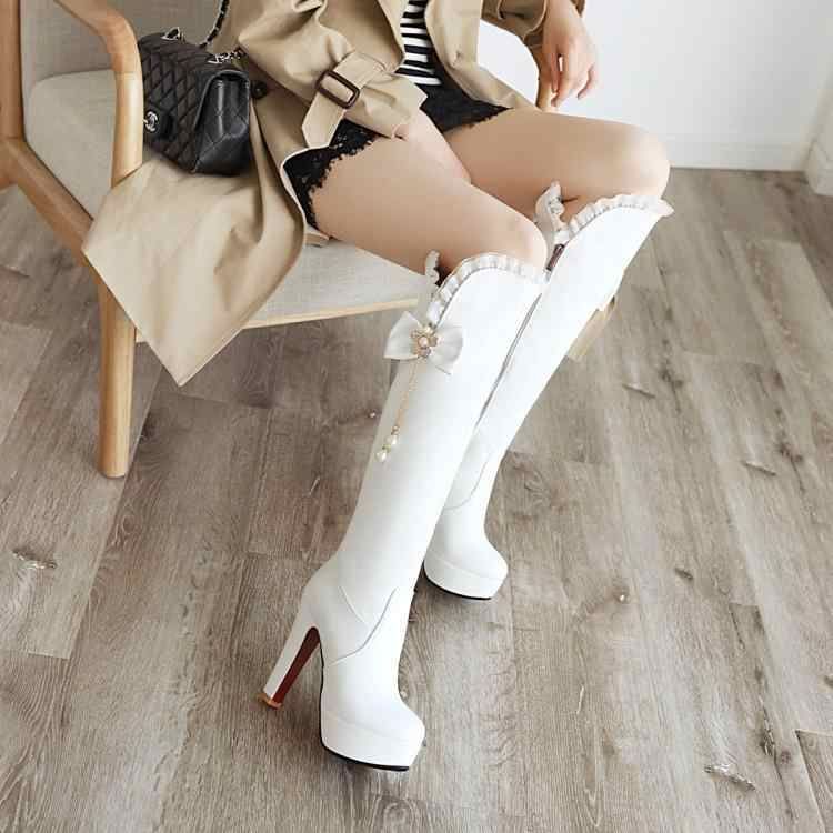ZETMTC kadın ayakkabı sonbahar kış sevimli kelebek düğüm kayışı diz yüksek çizmeler kırmızı süper yüksek ince heels11.5cm pu büyük boyutu 43