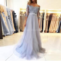 Boat Neck Coral Prom Dress Half Sleeves Appliques Beaded bestidos de gala Full Length Silver vestido formatura Formal Party Gown