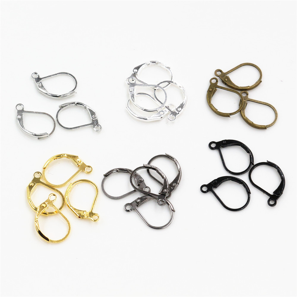15*10mm 50pcs High Quality 6 Colors Plated Brass French Earring Hooks Wire Settings Base Settings Whole Sale