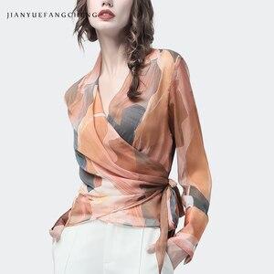 Image 2 - Chiffon Women Top Artistic Orange Print Sexy Slim Blouses Crossed V Neck Long Sleeve Fashion Ladies Summer Autumn Casual Blouse