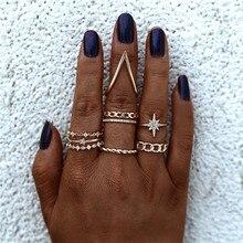 Juego de anillos de oro Modyle, conjunto de anillos de cristal geométricos con forma de estrella de la hoja Vintage, anillo de articulación con encanto para mujer, joyería de moda 2020