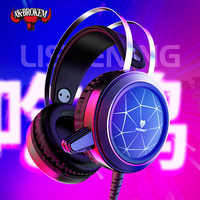 N1 3.5mm USB Stereo wired gaming headphones game headset over ear RGB with mic Voice control for laptop computer gamer PUBG