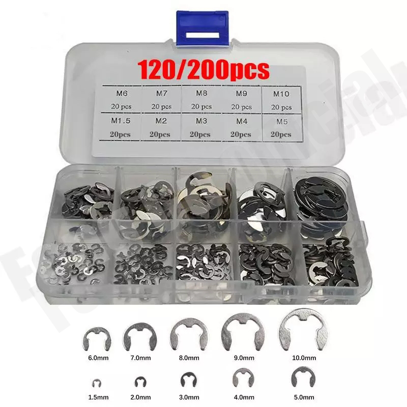 120/200 PCS 304 Stainless Steel Stainless Steel E Clip washer Assortment Kit Circlip retaining ring for shaft fastener M1.5~M10