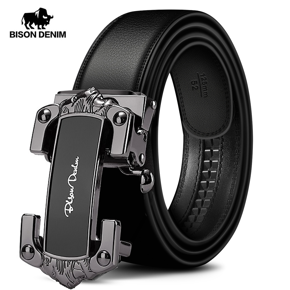 BISON DENIM Genuine Leather Men Belt Automatic Alloy Buckle Luxury Soft Cowskin Strap New Designer Waist Male Belt W71539