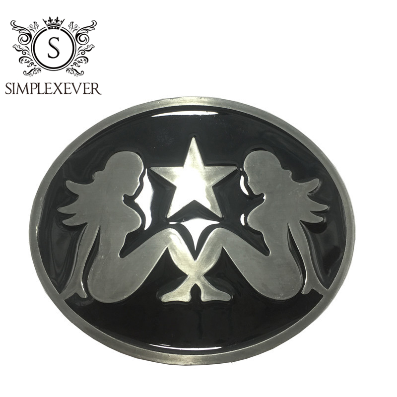 Sexy Girl Silver Oval Belt Buckle For Men Metal Cowboy Fashion Men's Belt Buckle Suit For 4cm Width Belt