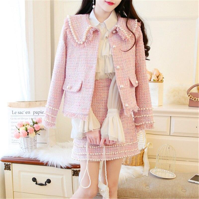 Piste automne hiver femmes glands Tweed 2 pièce ensemble femmes ongles perle glands Tweed veste manteau + clou perle Mini jupe courte costume
