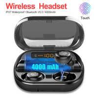 Bezprzewodowa Bluetooth 5.0 słuchawki IPX7 wodoodporna 9D słuchawki sportowe stereo z 4000mAh Power Bank TWS słuchawki Bluetooth