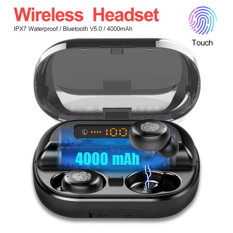 Drahtlose Bluetooth 5,0 Kopfhörer IPX7 Wasserdichte 9D Stereo Sport Kopfhörer mit 4000mAh Power Bank TWS Bluetooth Kopfhörer