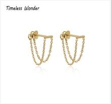 Timeless Wonder Titanium Geo Bar Chained Tassel Drop Earrings Women Jewelry Punk Gothic Boho Ins Dangle Designer Hiphop Top 3224 geo embroidery tassel detail blouse