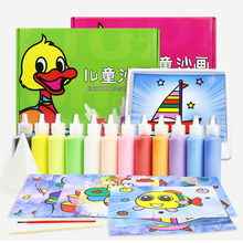 Children Baby Kids Cusual Toys Sand Painting 12 Colors Sand Art Kit Sand Drawing Art Different Craft Baby Daily Toy Gift(China)