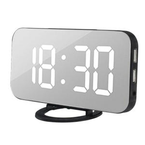 Alarm-Clock Phone-Alarm-Mirror Desk Usb-Charge-Ports Snooze-Display Led-Table Time Digital