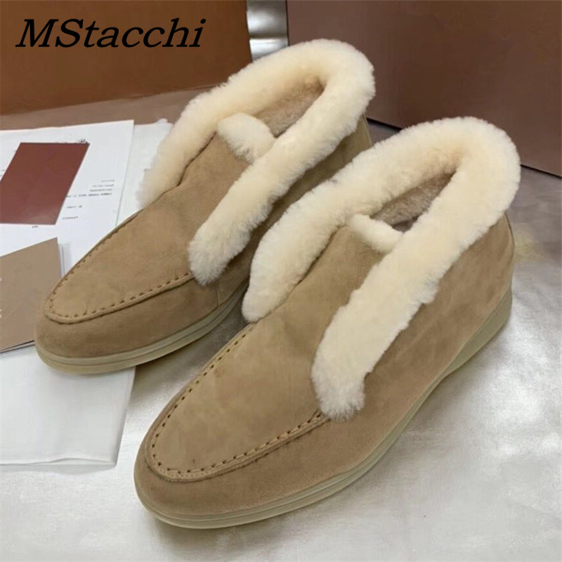 MStacchi Women Warm Suede Ankle Boots For Women Comfortable Slip-On Flat Boots Chic Ladies Real Leather Woolen Snow Botas Mujer