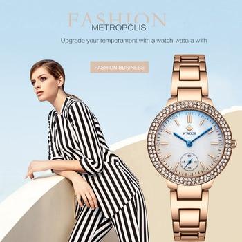 цена WWOOR 2020 Luxury Dress Ladies Watches Rose Gold Quartz Bracelet Watch Women Stainless Steel Diamond Wristwatch Gift reloj mujer онлайн в 2017 году