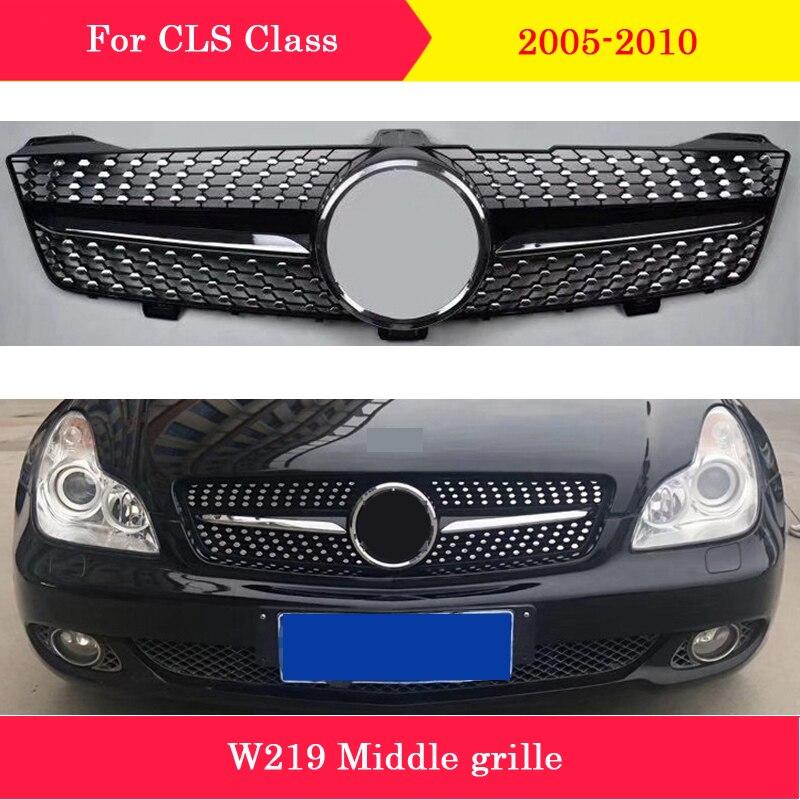 تصميم السيارة الأوسط مصبغة ABS البلاستيك الجبهة الماس نمط شواء لمرسيدس بنز CLS W219 2005-2010