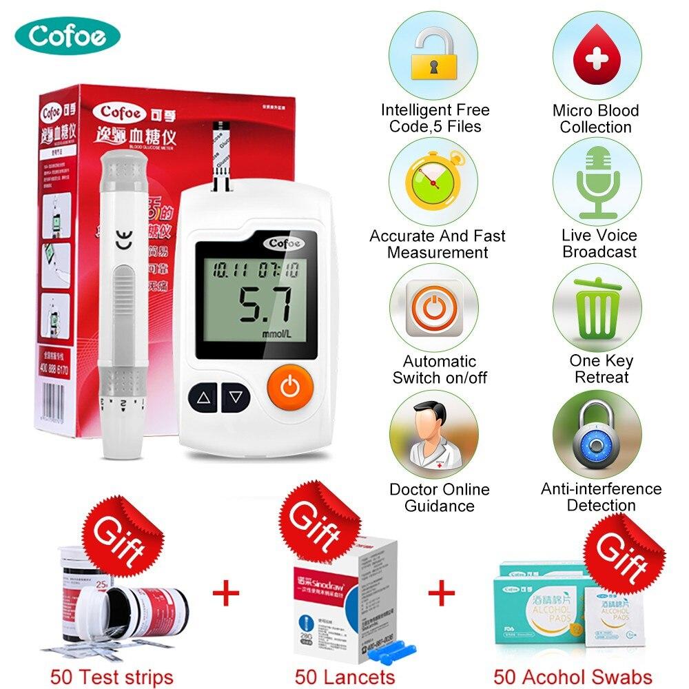 Cofoe Yili Intelligent Blood Glucose Meter Diabetes Monitor Blood Sugar Glucometer Free Test Strips+Lancets+Alcohol Swabs