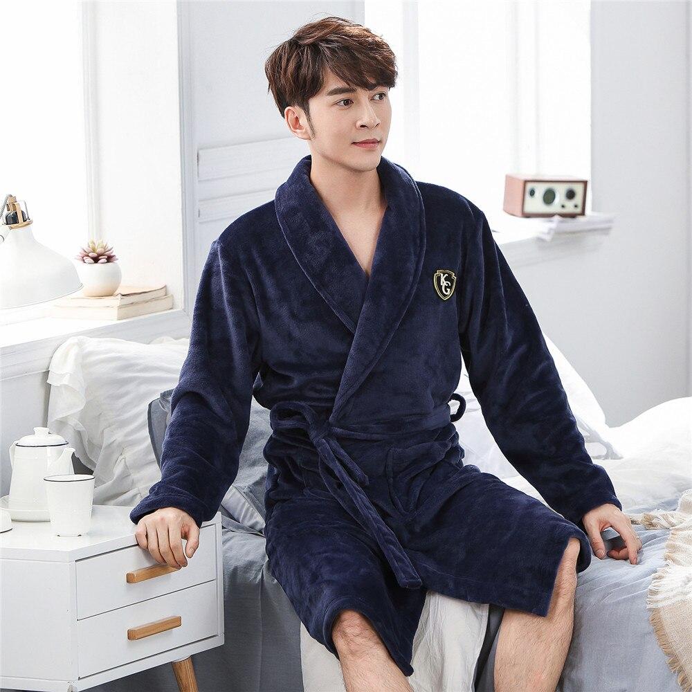 Navy Blue Solid Men Flannel Winter Sleepwear Kimono Robe Gown Comfortable Knee-length Nightwear Homewear Casual Soft Bath Gown